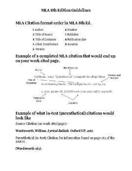 MLA 8th Edition Guidelines Reference Sheet