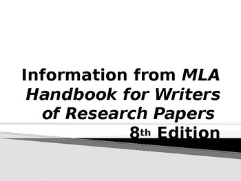 MLA 8th Edition Presentation