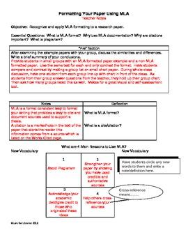 MLA Basic Formatting Notes Worksheet