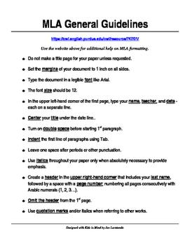 MLA Checklist