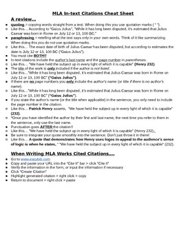 MLA Citation Cheat Sheet by English in Room 138 | TpT