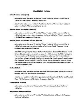 MLA Citation Formats (version 1)
