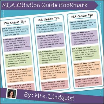 MLA Citation Guide Bookmarks (8th Ed)
