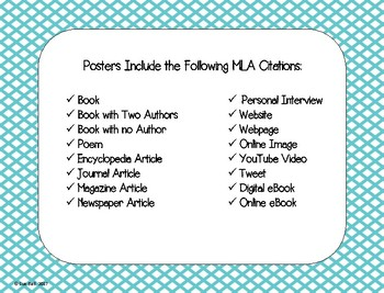 MLA Citation Posters - 8th Edition