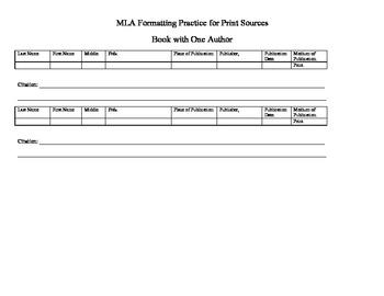 MLA Citation Practice Organizer for Print Resources PDF Version
