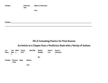 MLA Citation Practice Organizer for Print Resources Word Version