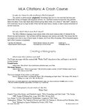 MLA Citation Reference Sheet