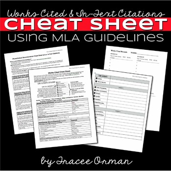 MLA Citations - Works Cited Cheat Sheet for Students Editable by ...