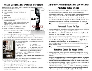 MLA Citations for Films & Plays