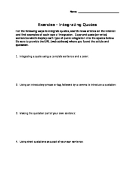 MLA Exercise #4: Integrating Quotes Search