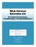 MLA Exercise #2:  Parenthetical Citations, Paraphrasing, I