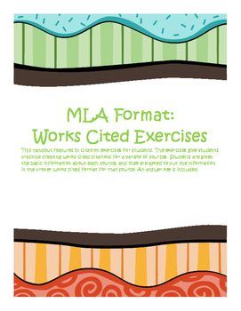 mla exercises 5 works cited exercises by bree lowry tpt