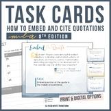 MLA Format (8th Edition) Task Cards - Print & Digital