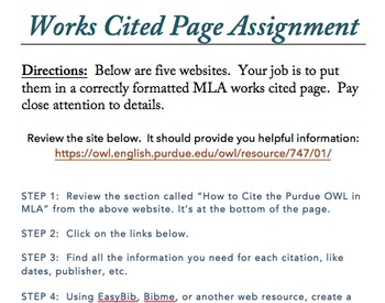 MLA WORKS CITED Format Assignments (3 total)- BUNDLE