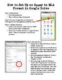MLA Format Cheat Sheet for Google Docs
