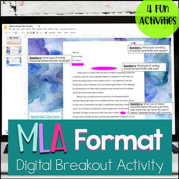 MLA Format Digital Activity - MLA Digital Escape