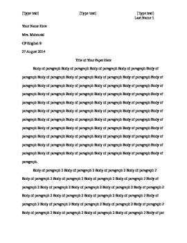 MLA Format Example (first page of essay)