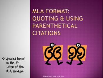 MLA Format Lesson #2: Parenthetical Citations, Paraphrasing, & Quotations