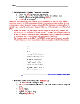 MLA Format Notes (Designed to accompany my MLA Format PowerPoint)