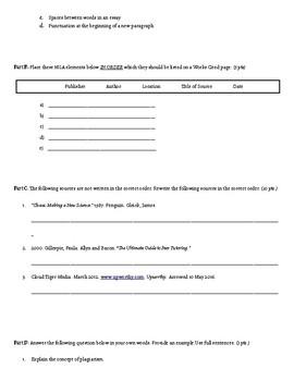 Mla Format Quiz