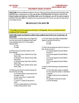 Mla Format Quiz Editable