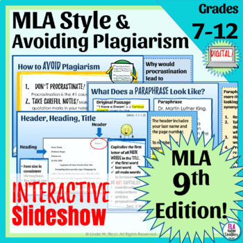 "MLA Format Slideshow, ""Cheat Sheet,"" and Lesson Ideas for Google Drive™"