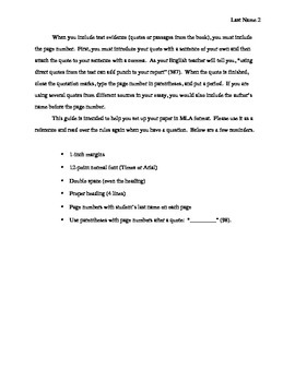 MLA Format : Student Directions (free!)