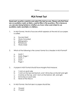 MLA Format Test with Answer Key (and Explanations) by Bree ...