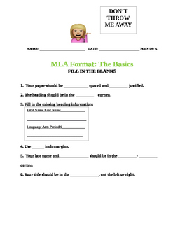 MLA Format Video Lesson Plan, Packet, Activity
