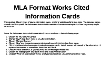 MLA Format Works Cited Information Cards