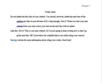 MLA Formatted Headers, Title, and Text -- Students just add their information!