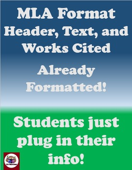 MLA Formatted Headers, Title, and Text -- Students just ad