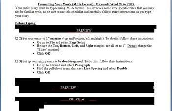 MLA Formatting Guide / Checklist for Essays - Microsoft Word 1997-2003