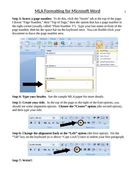 MLA Formatting Guidelines for Microsoft Word