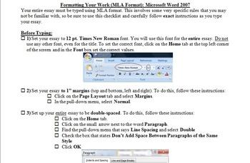 mla formatting instructions checklist for essays microsoft word 2007