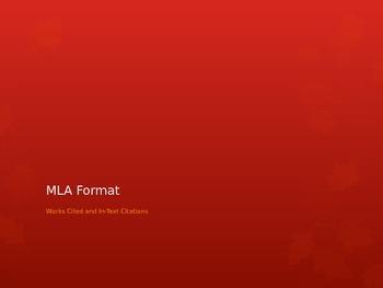 MLA Formatting PowerPoint Presentation