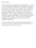 MLA Formatting Station Activity