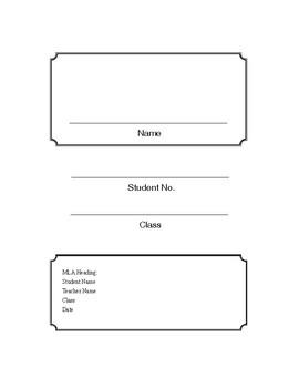 MLA Heading Binder Cover Sheet