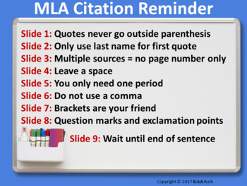MLA In-Text Citation | Reminder for Google Slides