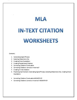 MLA In Text Citation Worksheets by A Learning Tree   TpT