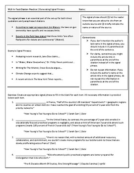 Mla In Text Citation Worksheets