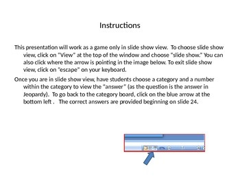 MLA In-text Jeopardy Review Game
