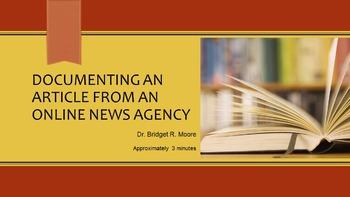 MLA 8th ed. Online News Agency Citation Video