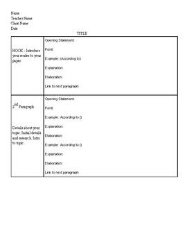 MLA/PEELS Based Graphic Organizer