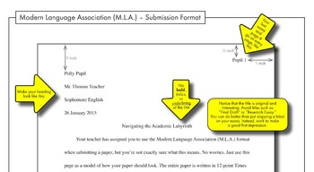MLA Paper Formatting – FREE Handout to Model M.L.A. Front Page Submission Format