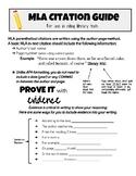 MLA Parenthetical Citation Guide Student Handout