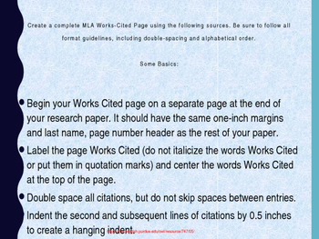 MLA Practice for Work Cited Pages II