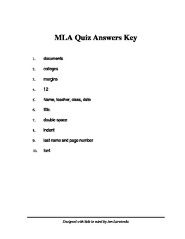 MLA Quiz & Answer Sheet