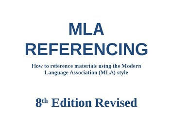MLA Referencing PowerPoint Presentation - Revised 2015