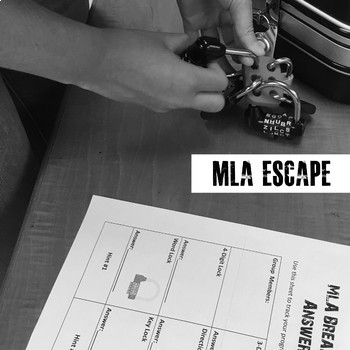 MLA Research and Citations Escape Game, Break Out Box Activity